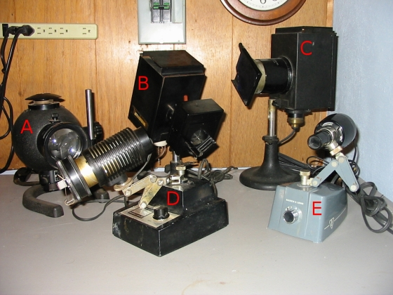 Bausch & Lomb microscope illuminators of various types