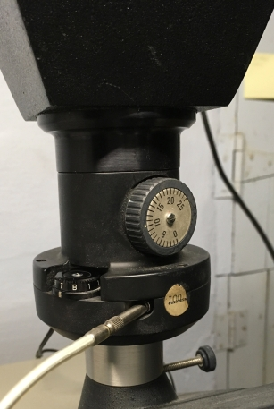 Closeup of shutter speed, and bellows adjustment